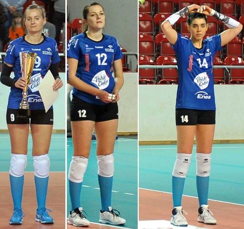 Zaciąg z Muszynianki Muszyna: od lewej Agnieszka Rabka, Justyna Sosnowska, Koleta Łyszkiewicz