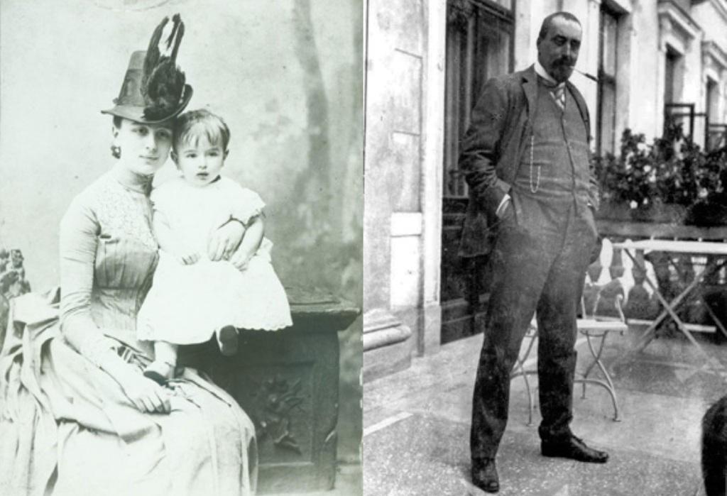 Maria Wielopolska z synem Józefem (1887 r.) oraz Zygmunt Wielopolski na tarasie pałacu (1914 r.)