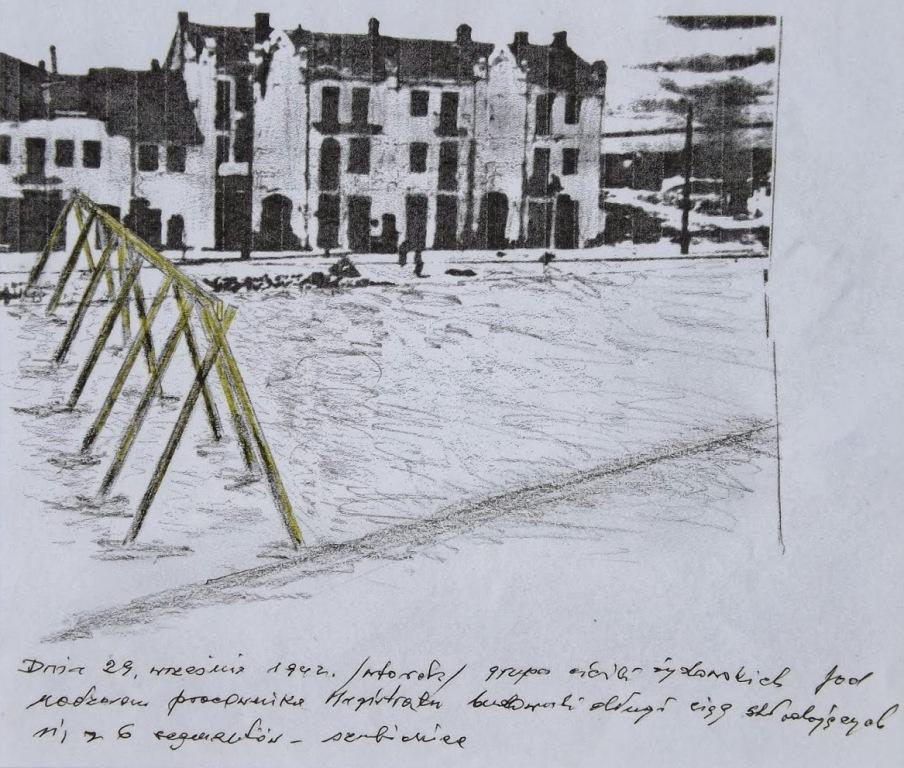 Miejsce egzekucji w szkicu pamięciowym wykonanym przez naocznego świadka Tadeusza Religę